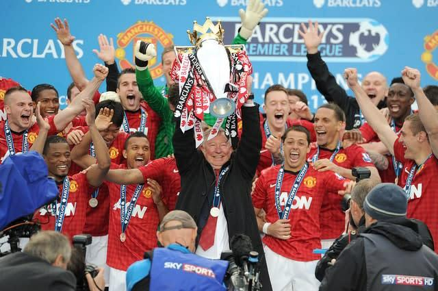 Sir Alex Ferguson lifted the trophy in his final season as manager (Martin Rickett/PA)