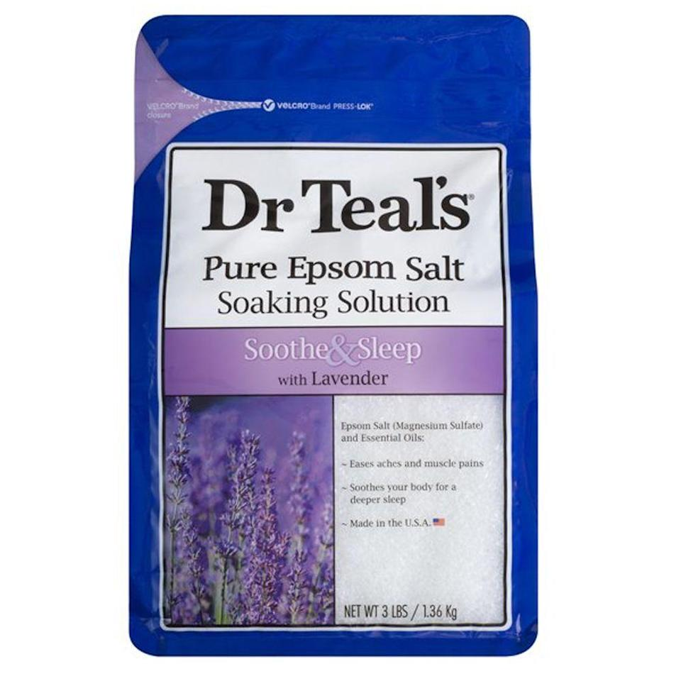 """<p><strong>Dr Teal's</strong></p><p>walmart.com</p><p><strong>$4.87</strong></p><p><a href=""""https://go.redirectingat.com?id=74968X1596630&url=https%3A%2F%2Fwww.walmart.com%2Fip%2F14089666&sref=https%3A%2F%2Fwww.womansday.com%2Fhealth-fitness%2Fg35058481%2Fhow-to-sleep-better%2F"""" rel=""""nofollow noopener"""" target=""""_blank"""" data-ylk=""""slk:Shop Now"""" class=""""link rapid-noclick-resp"""">Shop Now</a></p><p>Soothing magnesium sulfate crystals infused with lavishly fragrant lavender oil makes a perfect pre-bedtime bath treat. Pour a generous portion of this bag into a warm tub to relax your muscles as well as your mind.</p>"""