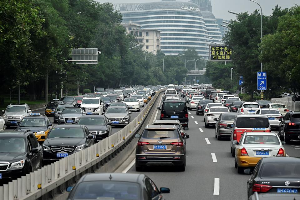 Traffic is seen along a road in Beijing on July 30, 2020. (Photo by WANG ZHAO / AFP) (Photo by WANG ZHAO/AFP via Getty Images)