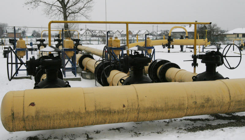 FILE - In this Jan. 7, 2009, file photo shows a natural gas pumping station for gas imported from Russia, in Rebelszczyzna, near Warsaw, Poland. On Tuesday, Nov. 6, 2012, Poland's gas and oil monopoly PGNiG said it has signed a deal restructuring Russian gas prices, meaning that import prices will be reduced by over 10 percent, leading to a reduction of prices for households and all users. ( AP Photo/Czarek Sokolowski, File)