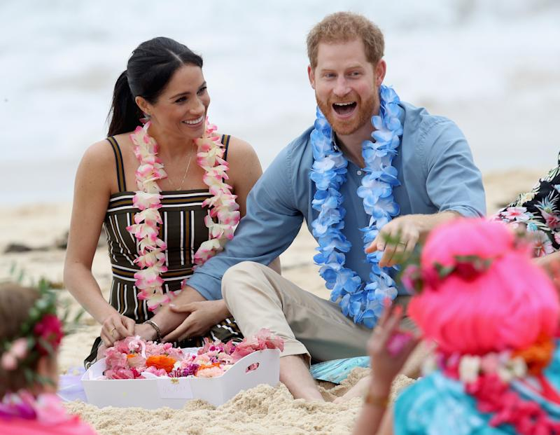 Prince Harry and Meghan Markle enjoying themselves at South Bondi Beach in Sydney, Australia on Oct. 19. 2018. (Photo: Chris Jackson via Getty Images)