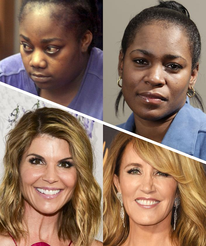 Clockwise from top left: Tanya McDowell, Kelley-Williams Bolar, Felicity Huffman and Lori Loughlin. (Photo: Getty Images)