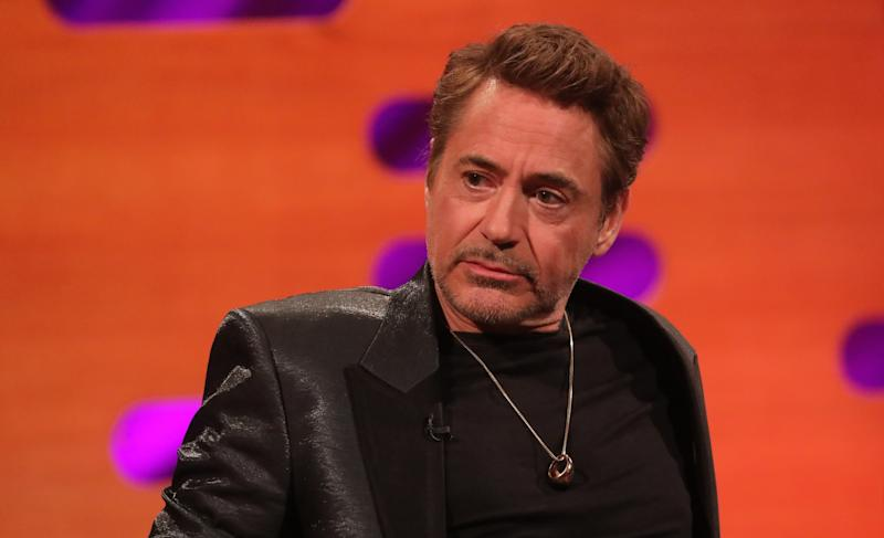 Robert Downey Jr. during the filming for the Graham Norton Show at BBC Studioworks 6 Television Centre, Wood Lane, London, to be aired on BBC One on Friday evening. (Photo by Isabel Infantes/PA Images via Getty Images)