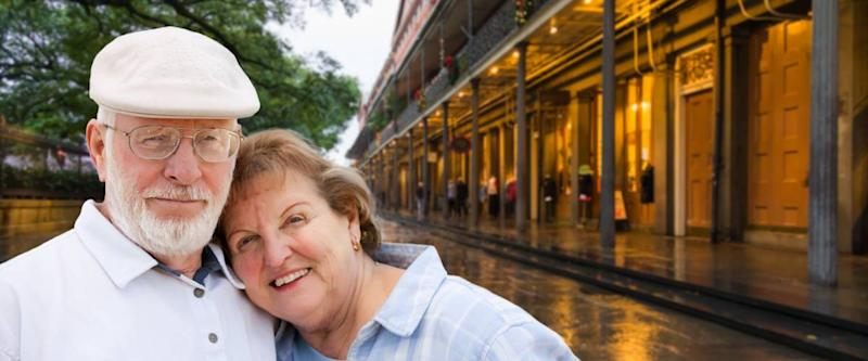 Happy Senior Adult Couple Enjoying an Evening in New Orleans, Louisiana