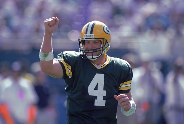 Brett Favre and the Packers somehow made green, yellow, and white work all in one jersey. Mandatory Credit: Eliot J. Schechter /Allsport