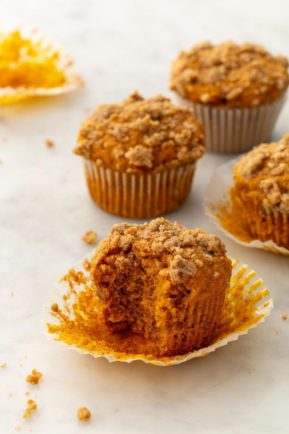 """<p>Streusel topping is peak fall.</p><p>Get the recipe from <a href=""""https://www.delish.com/cooking/recipe-ideas/a21960637/pumpkin-spice-muffins/"""" rel=""""nofollow noopener"""" target=""""_blank"""" data-ylk=""""slk:Delish"""" class=""""link rapid-noclick-resp"""">Delish</a>.</p>"""