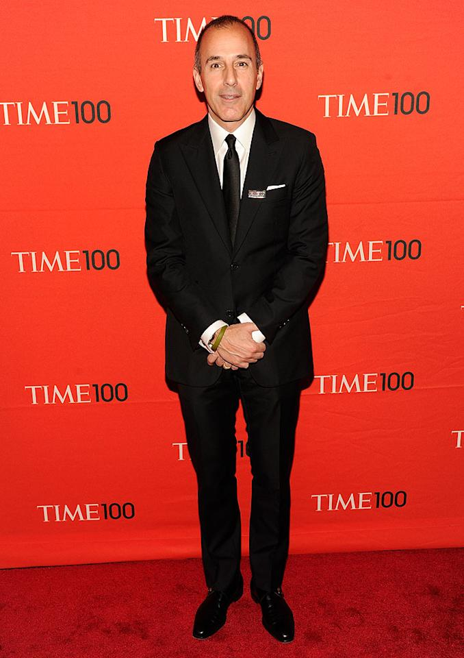 "Influential ""Today"" host Matt Lauer was dapper in a black suit at the evening soiree. Let's hope he still got to bed somewhat early!"