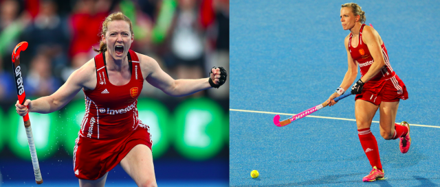 <p>Helen (left) and Kate (right) Richardson-Walsh are teammates who got married in 2013. In 2012, the two helped Team Great Britain to its first Olympic hockey medal in two decades with a bronze finish. (Getty) </p>