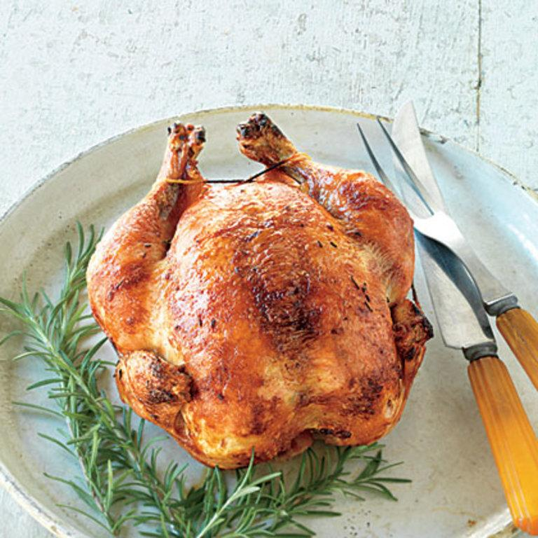 """If you are fortunate enough to have a rotisserie on your grill, nothing beats a brined whole chicken that turns slowly on a spit and bastes itself while the skin turns golden brown and delicious. <a rel=""""nofollow"""" href=""""http://www.myrecipes.com/recipe/rosemary-rotisserie-chicken"""">Rosemary-Brined Rotisserie Chicken </a>"""