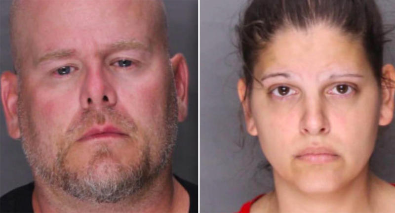 Mugshots of Scott Schollenberger Jr. and Kimberly Maurer.