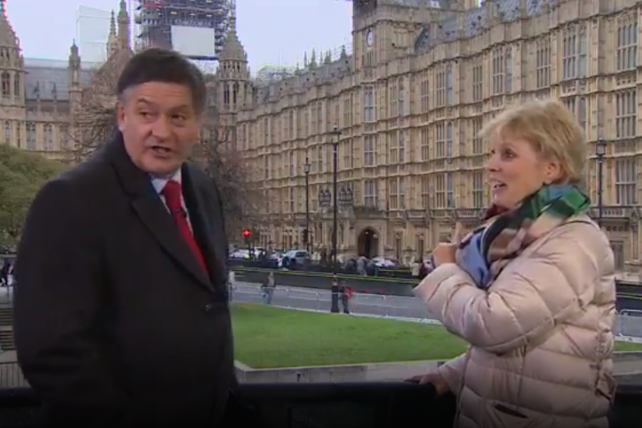 Ms Soubry was verbally abused by Brexit supporters during a live interview with BBC presenter Simon McCoy (Picture: BBC)