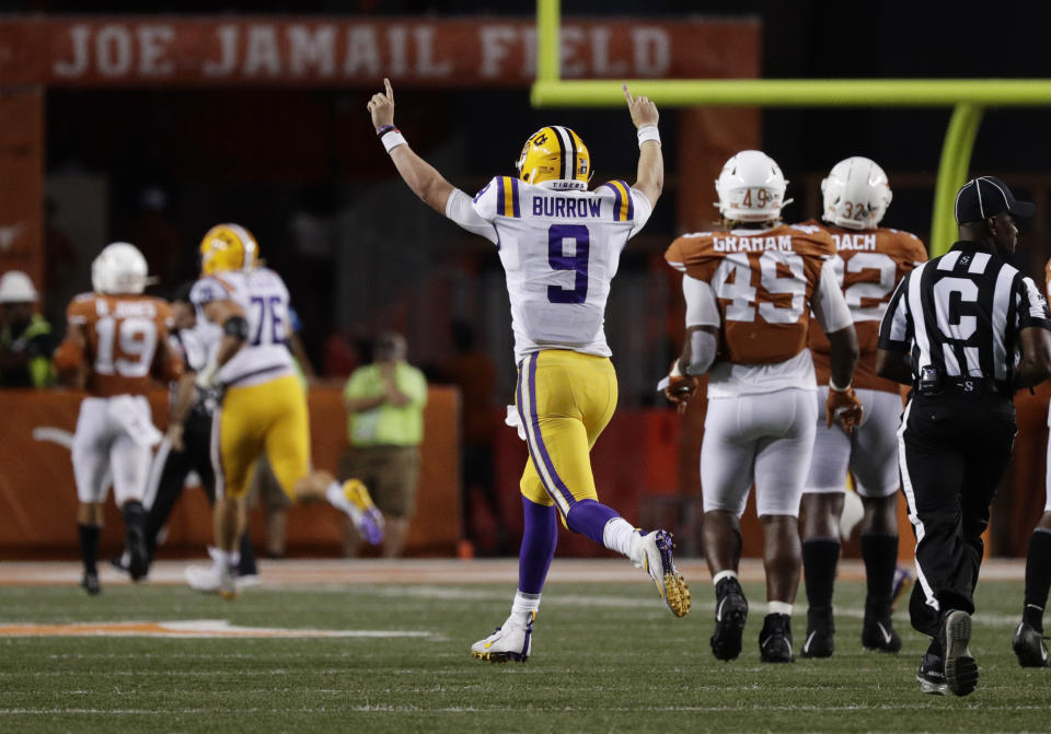 LSU quarterback Joe Burrow (9) celebrates after connecting with wide receiver Justin Jefferson for a touchdown against Texas during the second half of an NCAA college football game Saturday, Sept. 7, 2019, in Austin, Texas. (AP Photo/Eric Gay)