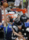 Dallas Mavericks forward Dwight Powell (7) shoots during the second half of the team's NBA basketball game against the Portland Trail Blazers, Friday, Jan. 17, 2020, in Dallas. The Mavericks won 120-112. (AP Photo/Brandon Wade)