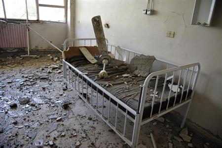 A view shows damages inside a room at Raqqa national hospital