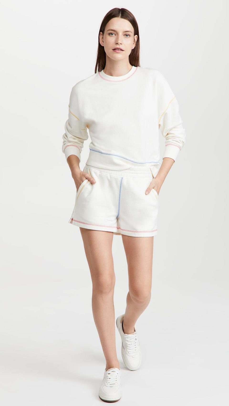 <p>Sweat sets are still very much a thing, and this <span>Rails Alice Sweatshirt</span> ($138) and <span>Jane Shorts</span> ($98) is adorable. I'm obsessed with the rainbow trim.</p>