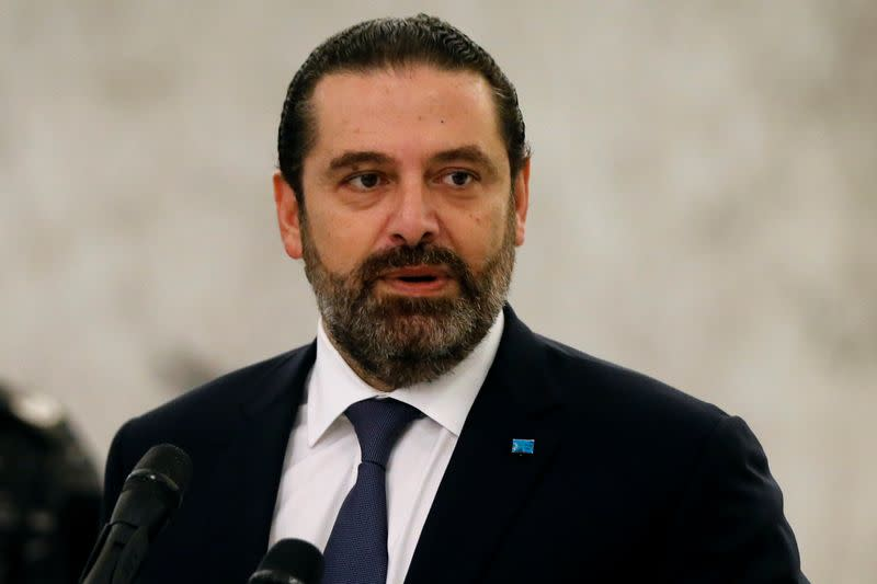 Lebanon's caretaker Prime Minister Saad al-Hariri speaks after meeting with President Michel Aoun at the presidential palace in Baabda