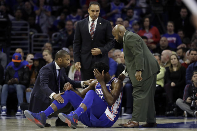 Philadelphia 76ers' Joel Embiid will have surgery on his left eye after suffering a concussion Wednesday night. (AP)