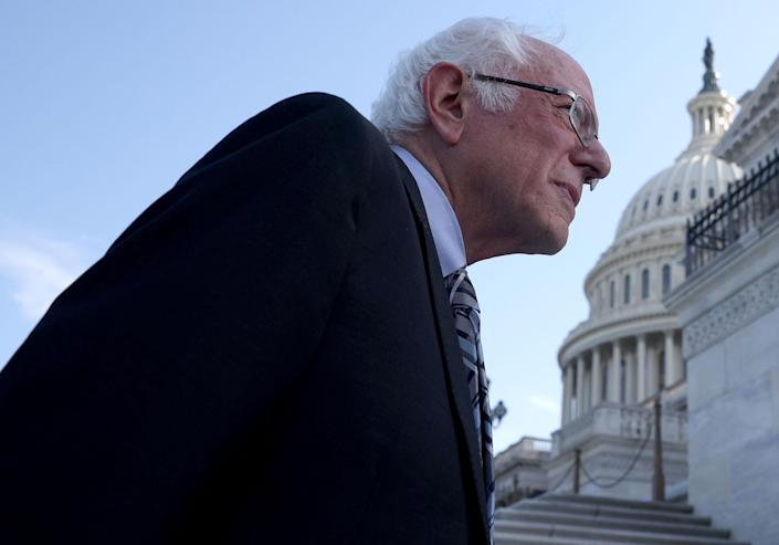 Sen. Bernie Sanders arrives at the Capitol after meeting with President Joe Biden at the White House on July 12, 2021.
