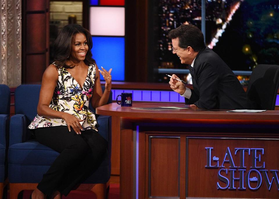 """<p>Obama, wearing a floral peplum top with black skinny trousers, <a rel=""""nofollow"""" href=""""https://www.yahoo.com/style/michelle-obama-really-wants-to-go-to-target-132034063.html"""" data-ylk=""""slk:revealed on late night TV;outcm:mb_qualified_link;_E:mb_qualified_link;ct:story;"""" class=""""link rapid-noclick-resp yahoo-link"""">revealed on late night TV</a> that her dreams after she leaves the White House are to drive herself with the wind blowing her hair and shop at Target. """"My lead agent let me have the windows open on the way to Camp David,"""" she said. """"It was like five minutes out and he was like 'the window's open. Enjoy it!' I was like, 'thanks Allen.'"""" </p>"""