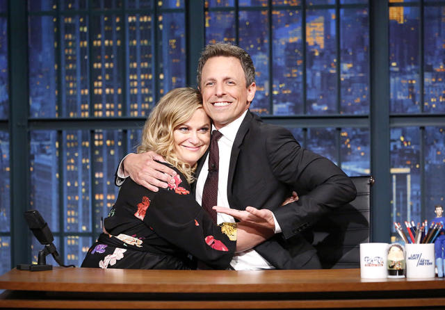 "<p>It wasn't Saturday night and it sure wasn't 2007, but Poehler and Meyers reprised the ""Really!?! With Seth and Amy"" bit from their days as co-hosts of <i>Saturday Night Live</i>'s ""Weekend Update"" on his <i>Late Night with Seth Meyers</i>. (Photo: Lloyd Bishop/NBC/NBCU Photo Bank via Getty Images) </p>"