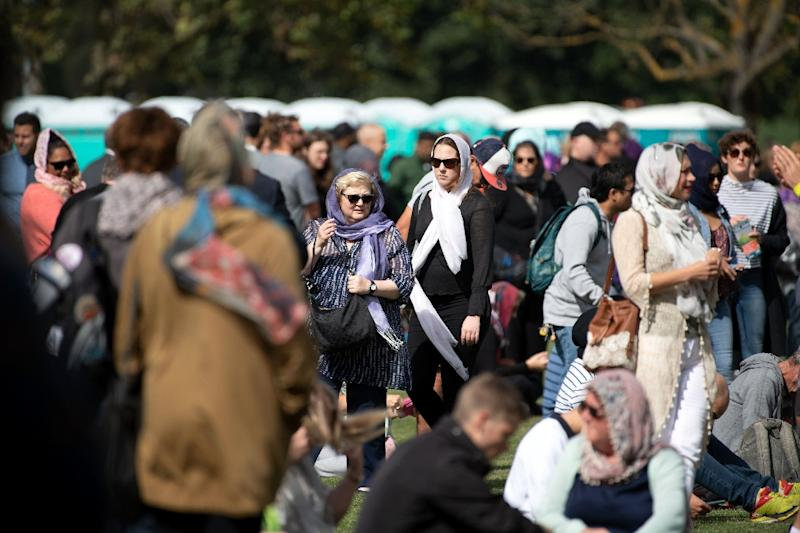 Women in New Zealand are embracing #HeadScarfforHarmony, to make a stand against hate (AFP Photo/Marty MELVILLE)