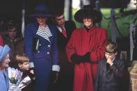 <p>Princess Diana and Sarah, Duchess of York (with Princes Harry and William) were sure to turn heads with their headwear.</p>