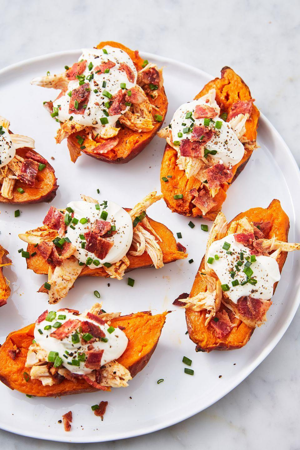 """<p>Four ingredients, one easy dinner.</p><p>Get the recipe from <a href=""""https://www.delish.com/cooking/recipe-ideas/a27059441/instant-pot-sweet-potatoes-recipe/"""" rel=""""nofollow noopener"""" target=""""_blank"""" data-ylk=""""slk:Delish"""" class=""""link rapid-noclick-resp"""">Delish</a>.</p>"""