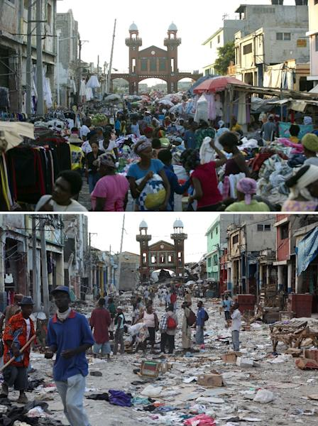 Downtown Port-au-Prince pictured on December 29, 2014 (top) and on January 14, 2010 (bottom), two days after it was hit by the eartkquake (AFP Photo/)