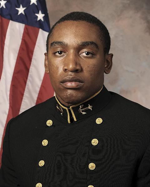In this July, 24, 2013 photo released by the U.S. Navy Football team, Midshipmen Tre'ves Bush is shown. A hearing to determine if three Naval Academy midshipmen will face a court-martial could be nearing its end in the case of an classmante who allegedly was sexually assaulted. Navy investigators are set to testify, a week after the hearing opened, and defense attorneys hope to wrap up later in the day after commenting on the evidence. The alleged victim has testified she was drinking heavily at an off-campus party and has no memory of the alleged incidents. (AP Photo/U.S. Navy Football)