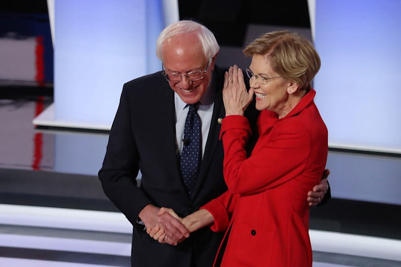 Sanders and Warren greet each other at the start of the Democratic presidential debate last month in Detroit.<i></i> (Photo: Justin Sullivan via Getty Images)