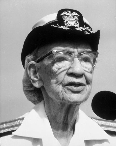 FILE - This 1985 file photo shows 79-year-old Rear Admiral Grace Hopper. On Saturday, Feb. 11, 2017, Yale University said it is renaming Calhoun College after Hooper, a trailblazing computer scientist, a mathematician who earned Yale degrees in the 1930s, invented a pioneering computer programming language and became a Navy rear admiral. (Department of Defense via AP)