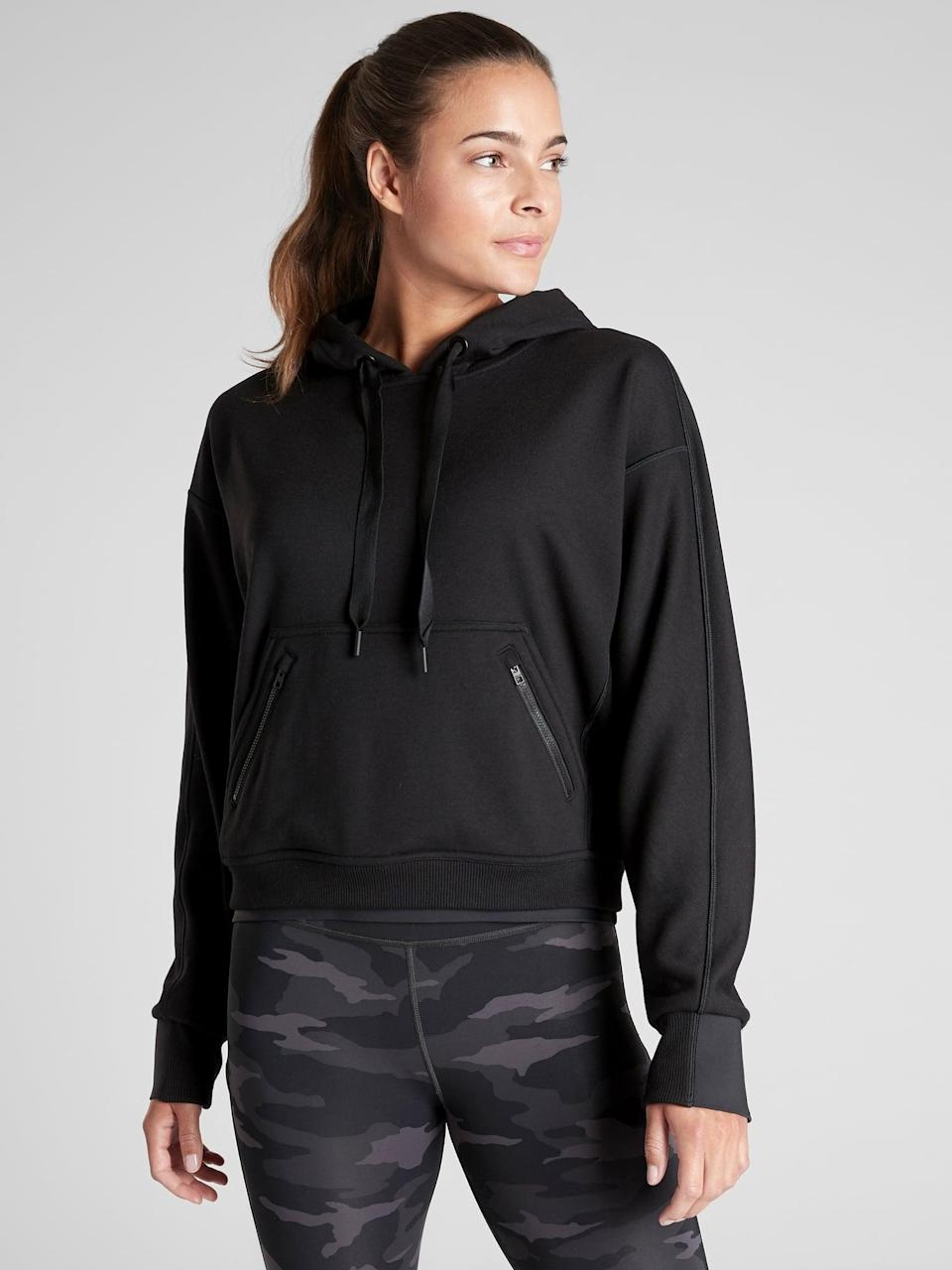 <p>A hoodie is a workout staple, and we love the sweat-wicking design of this <span>Athleta Recover Hoodie</span> ($80, originally $108).</p>