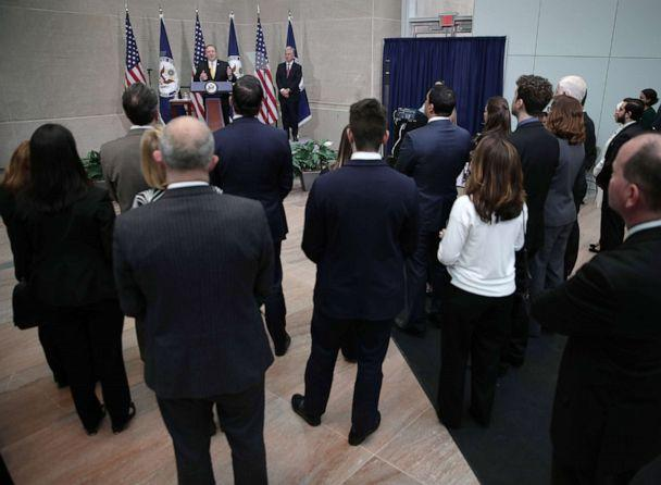 PHOTO: Secretary of State Mike Pompeo delivers remarks during a reception at the State Department April 2, 2019 in Washington, D.C. Secretary Pompeo spoke to families of American citizens held captive abroad at the event. (Alex Wong/Getty Images)