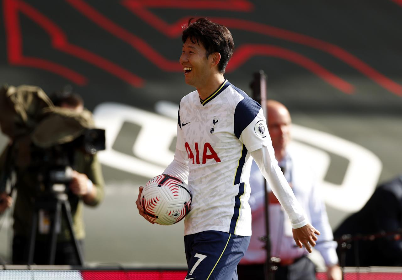 Tottenham Hotspur's Son Heung-min with the match ball after the Premier League match at St Mary's Stadium, Southampton.
