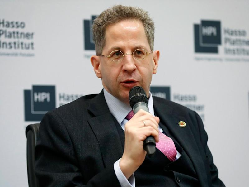 The head of Germany's domestic intelligence service, Hans-Georg Maassen, takes part in the Potsdam Conference on National Cybersecurity on 4 May (EPA)