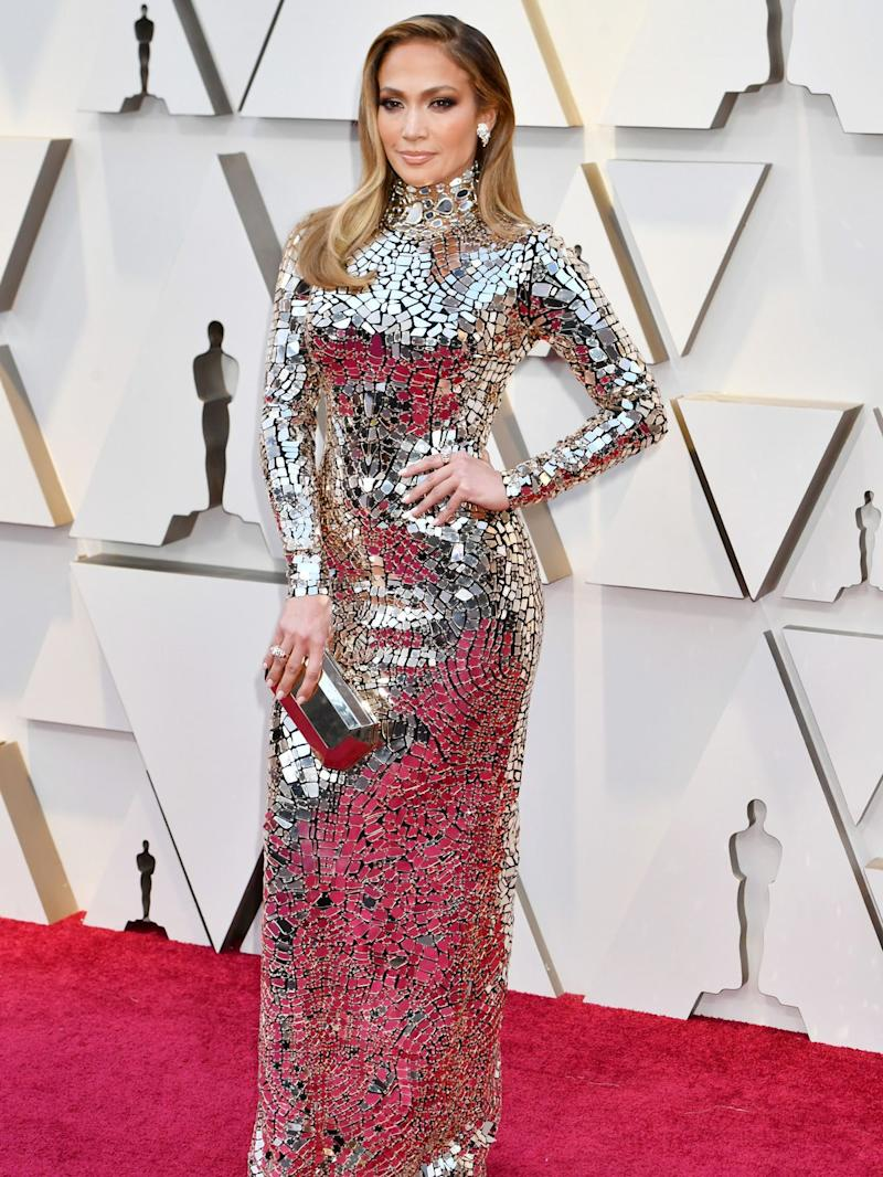 The Only Way To See J Lo S Mirrored Oscars Dress Is Up Close