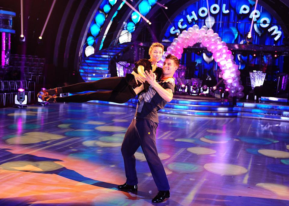 Abbey Clancy and Aljaz Skorjanec rehearse for the Strictly Come Dancing semi-finals at Elstree Studios in Hertfordshire.
