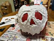 <p>When you've finished covering the pumpkin with the shaving cream mixture, it should look like this. Leave it on a flat surface to set for a few hours and then move it to wherever you'd would like.</p>