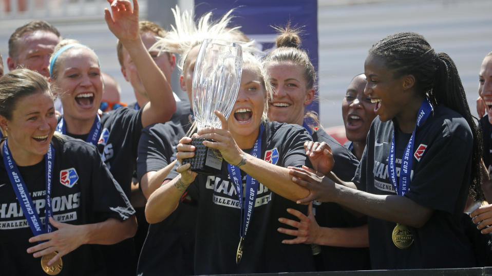 The NWSL Challenge Cup, which was won in July by the Houston Dash, yielded record ratings for the league. (AP Photo/Rick Bowmer)