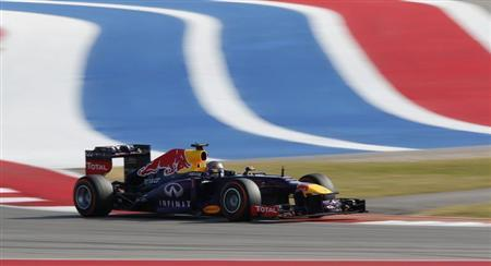 Sebastian Vettel of Germany drives during the Austin F1 Grand Prix at the Circuit of the Americas in Austin