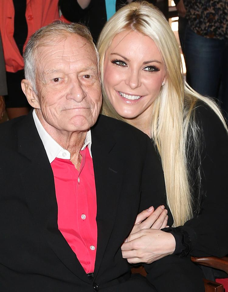 "In 2008, Hefner met Crystal Harris at his annual Halloween bash at the mansion. Just months later she moved in – along with the Shannon Twins – and quickly slipped into the role of No. 1 girlfriend. While Madison couldn't get Hefner to commit to marriage, Harris could. Hefner popped the question over Christmas in 2010 and she said yes. However, the road to the altar wasn't smooth. Weeks before their June 2011 wedding, Harris called it off – and left Hefner red faced as he had already put her on the cover of the June issue of <em>Playboy</em> with the headline, ""Introducing America's Princess, Mrs. Crystal Hefner."" Oops! Although he swore off marriage (again!), he reunited with Harris a year later and in early December 2012 they announced that they were once again engaged. The star-studded nuptials are set to take place at the mansion on New Year's Eve – though, as we've learned, anything can happen."