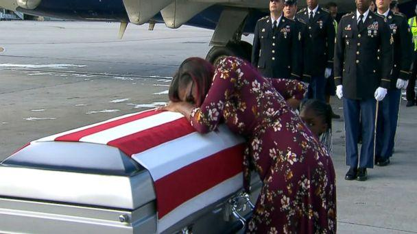 PHOTO: Myeshia Johnson sobs over the casket of fallen soldier and husband, Sgt. La David Johnson, who was killed in Niger. (ABC News)