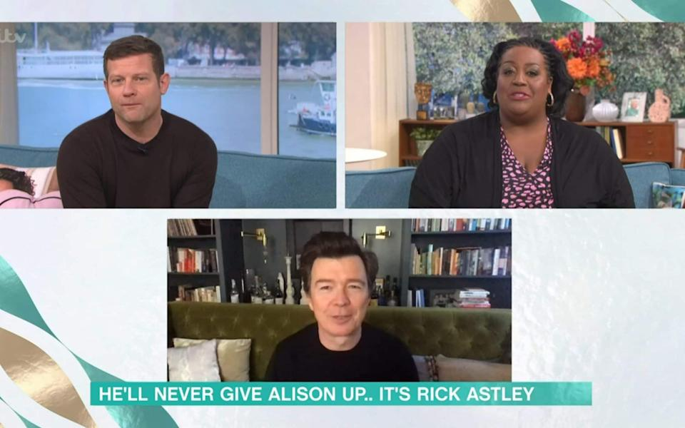 Dermot O'Leary and Alison Hammond interviewing Rick Astley on This Morning earlier this year - ITV