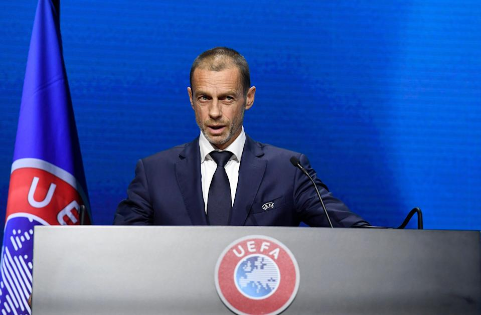 <p>Ceferin is discussing the new Champions League plans</p> (AP)