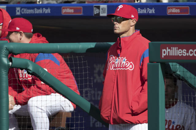 Gabe Kapler may be the only manager in baseball to conduct his pregame press briefing while standing. (AP)
