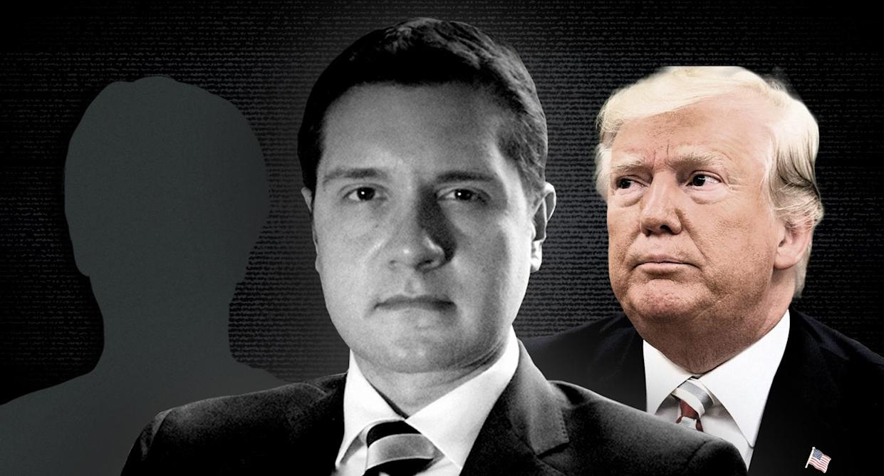 National security attorney Andrew Bakaj and President Trump. (Photo illustration: Yahoo News; photos: Getty Images, courtesy of Andrew Bakaj, Jonathan Ernst/Reuters, Getty Images)
