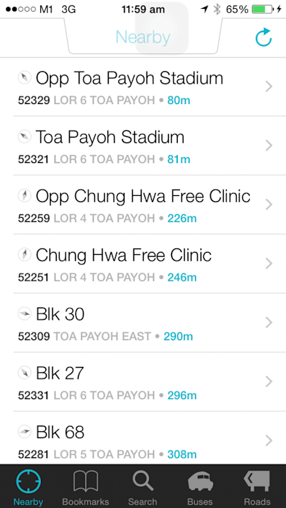 Users can see what bus stops are nearest to their vicinity.