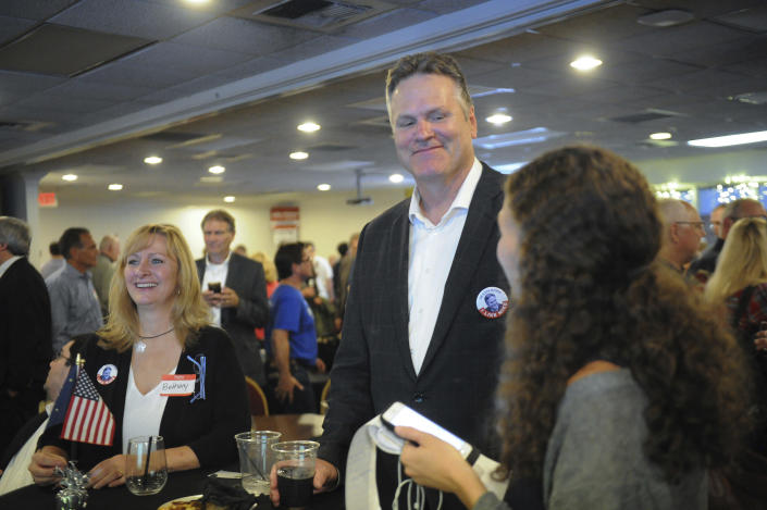 Republican gubernatorial candidate Mike Dunleavy is interviewed Tuesday Aug. 21, 2018, in Anchorage, Alaska. Dunleavy held an early primary lead over fellow Republican Mead Treadwell. (AP Photo/Michael Dinneen)