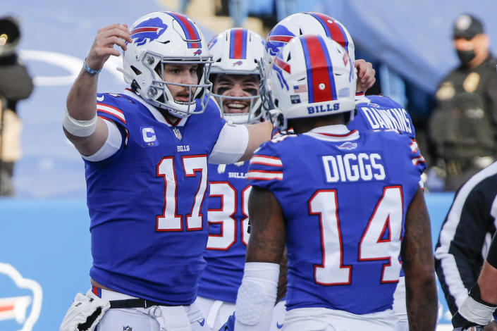 The tandem of Bills quarterback Josh Allen (17) and wide receiver Stefon Diggs helped Buffalo beat the Colts 27-24 for their first playoff win in 25 years. (AP Photo/Jeffrey T. Barnes)
