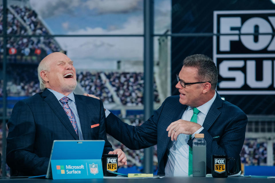 Terry Bradshaw (left), sitting next to Howie Long, has been a fixture on NFL pregame broadcasts for decades. (Photo courtesy of Fox Sports)